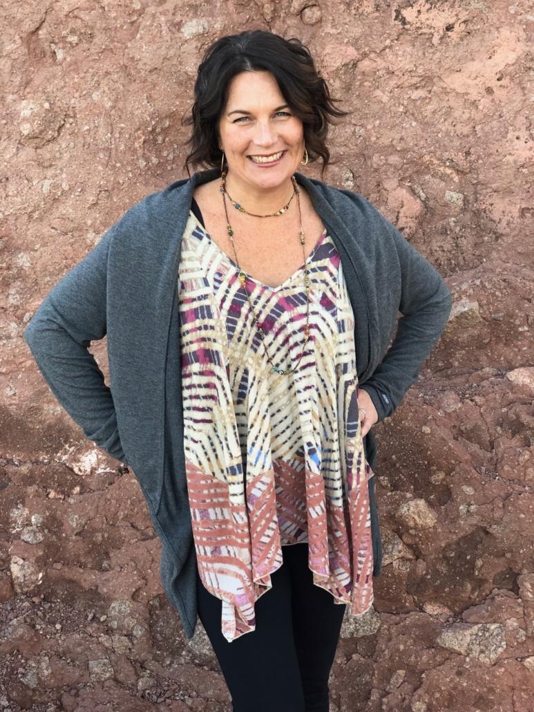 Sara Alvarado in front of rock